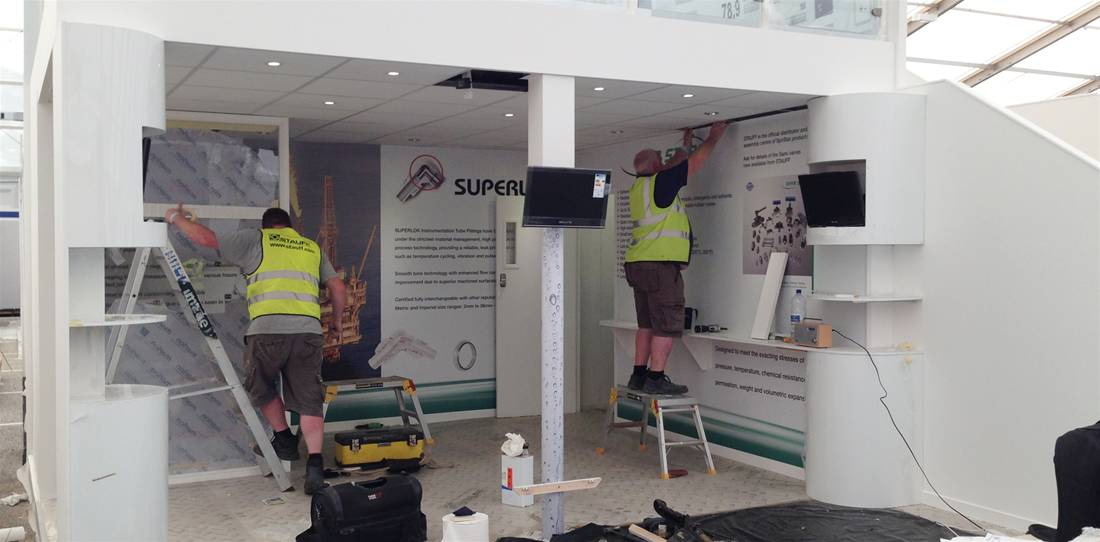Exhibition Stand Installation : Two story exhibition stand for stauff uk the image group